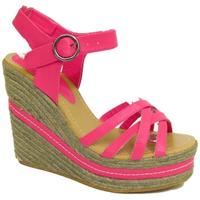 View Item LADIES HOT PINK STRAPPY HESSIAN WEDGE PLATFORM WOMENS SANDALS SHOES SIZES 3-7